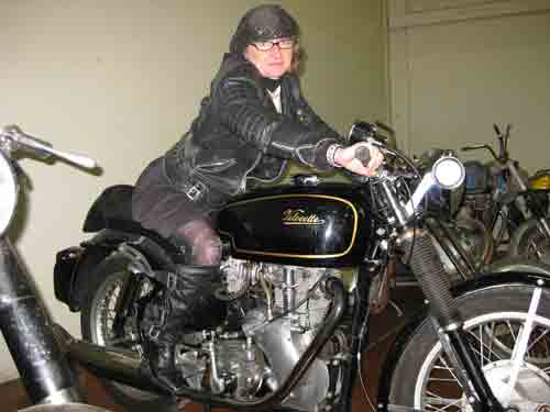 Lanora on a Velocette
