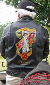 Gil's jacket with hand painted Velocette Logo