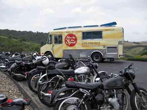 Line up of bikes and the all important food truck.