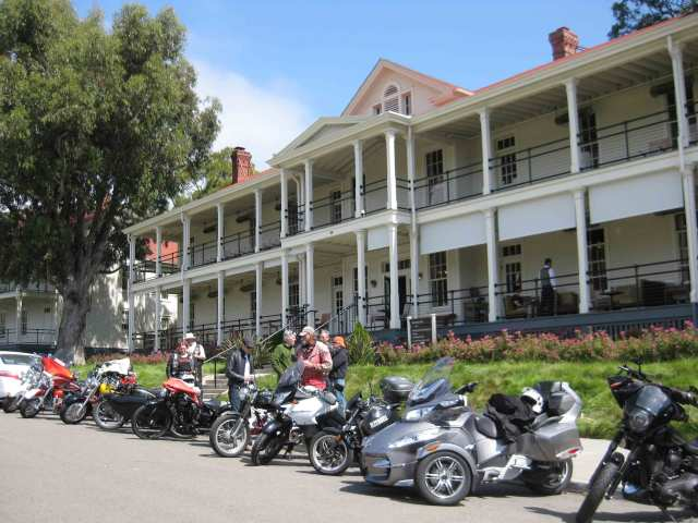 Line up of bikes in front of the Cavallo Point Lodge