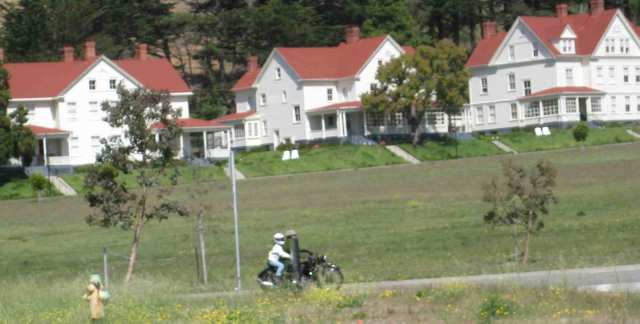 Pete arrives at Cavallo Point.  Unfortunately you can't see the sidecar from this side.
