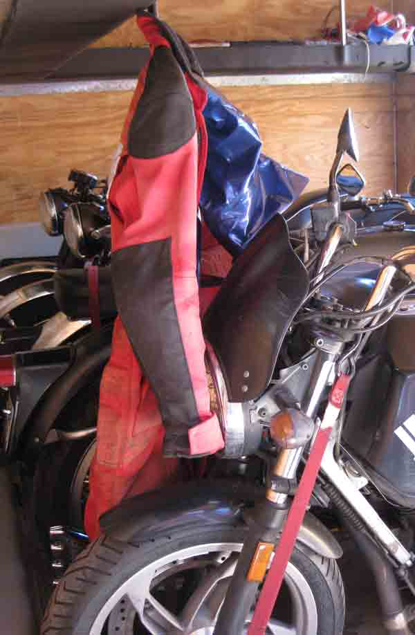 Here's my bike and riding suit loaded up in the trailer.