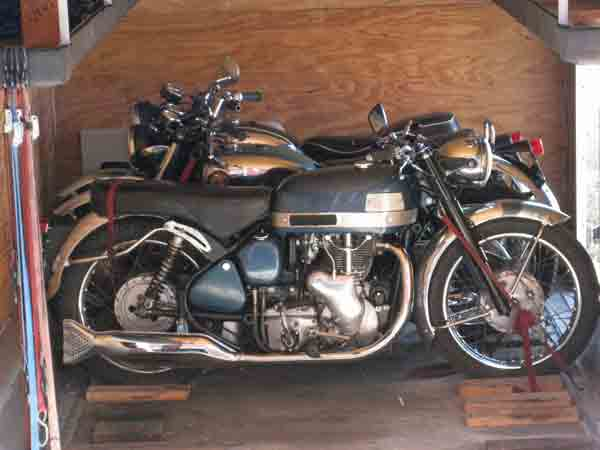 Fred's beautiful blue Velocette loaded up and ready to go.