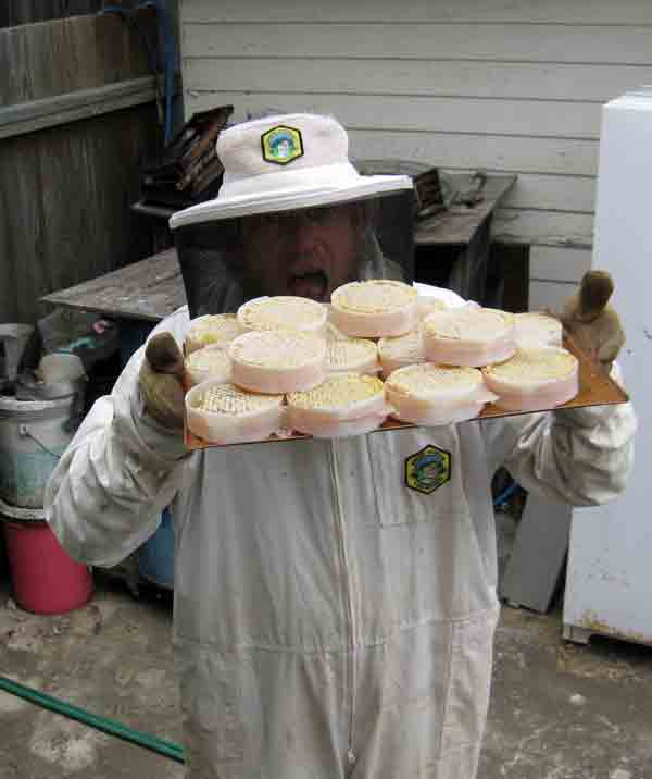 Jeff holds a tray with rounds of bee comb and honey.