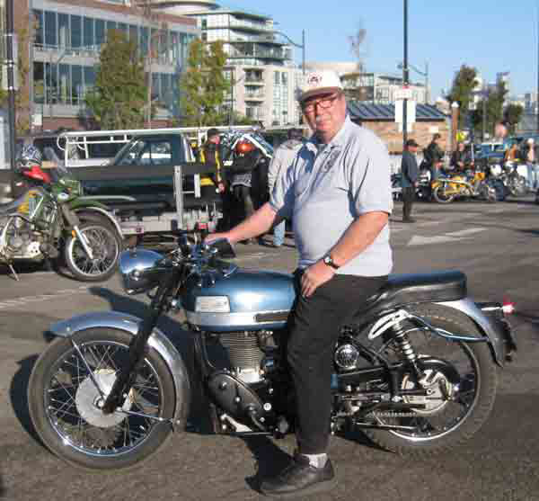 Fred Mork on his Velocette Venom