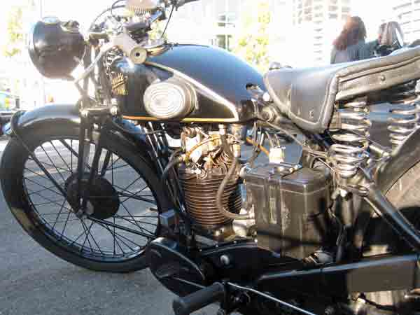 Kim Young's Velocette in the morning light