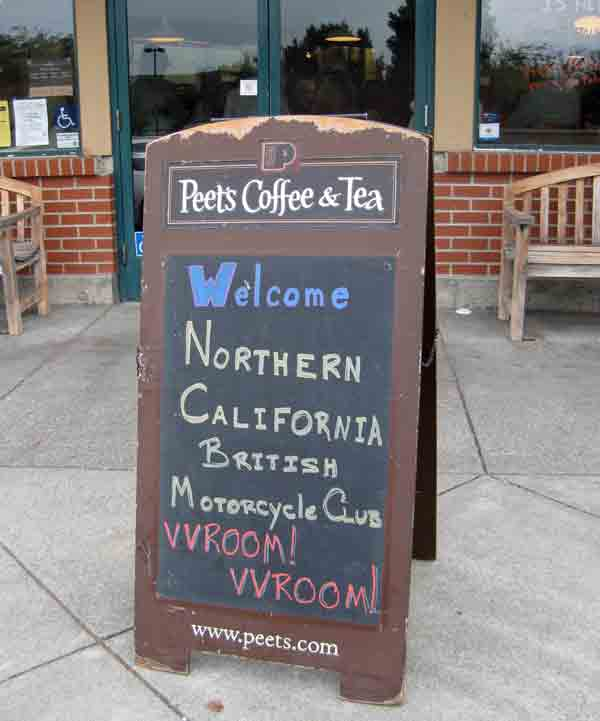 Welcoming sign from local Peets Coffee and Tea