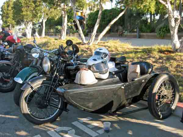 The Young's sidecar rig.  Pete rode with Sirisvati on the back and Atticus in the chair.