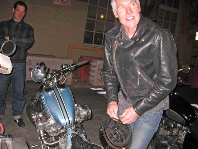 Interesting people and exotic bikes outside