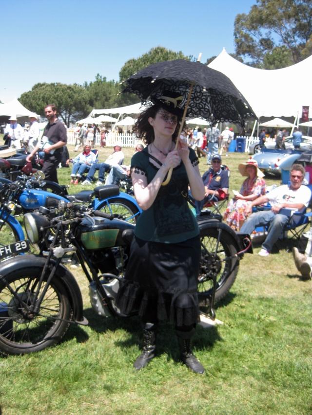 Black Umbrella Lady and Royal Enfield