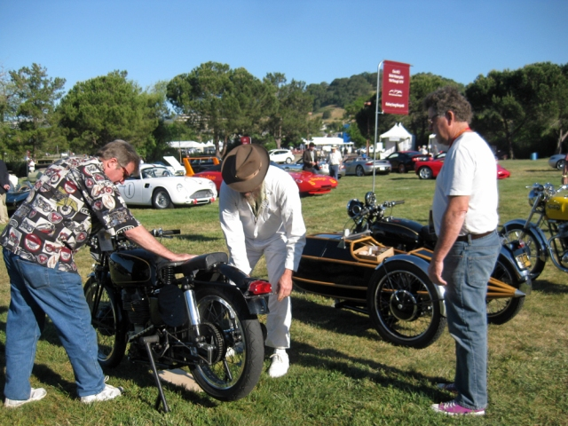 Paul Zell, Jeff Scott and Art Sirota join forces to park a Velocette