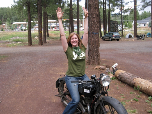 Amy rides her first motorcycle