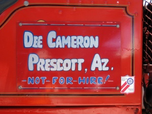 Sign on one of Dee's Trucks
