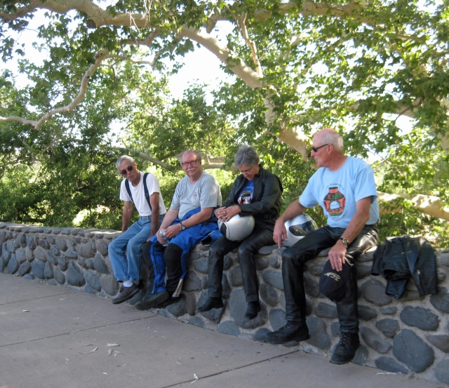 Rick, one of the Chase Truck drivers along with Fred, Shirley and Don enjoy the shade