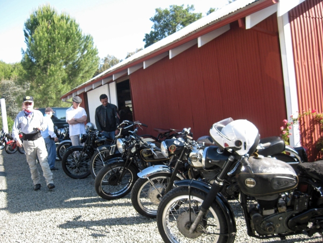 Gathering in front of the barn