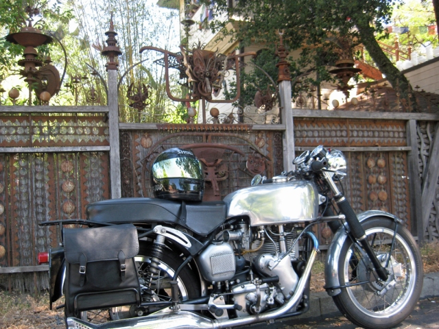 In Glen Ellen, one side of the parking lot was lined with this amazing fence which showed off John Sims Velocette
