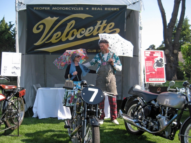 Jeff and Lanora in front of the Velocette Booth