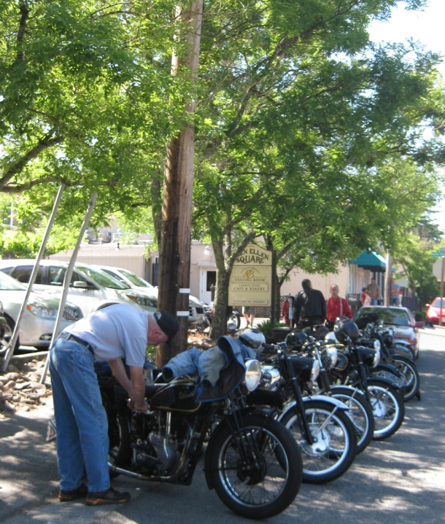 Paul Adams cleans his bike in Glen Ellen