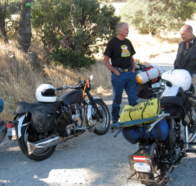 Whenever a Velocette is stopped on the side of the road, the curious and helpful stop.  Here Don talks with Jeff Ward (one of the helpful).