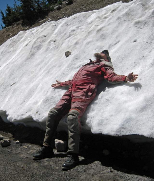 Jeff S.cools off in what little snow there was