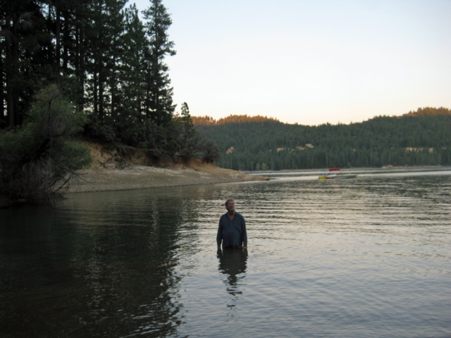Jeff S. walked into the lake at the campsite just before dark