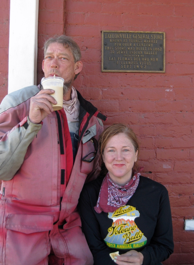 eff Scott and Amy with a coffee shake.  Note the sign
