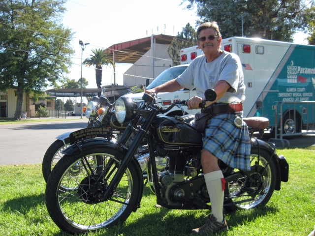 Kent Bell on his Velocette