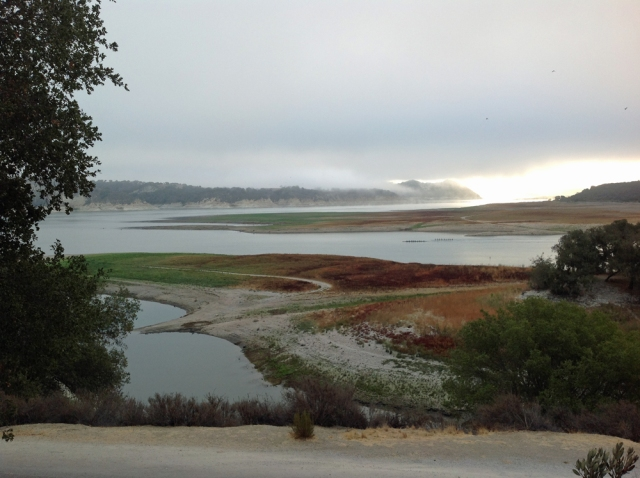 Morning view at Lake Cachuma complete with rowers from UC Santa Barbara