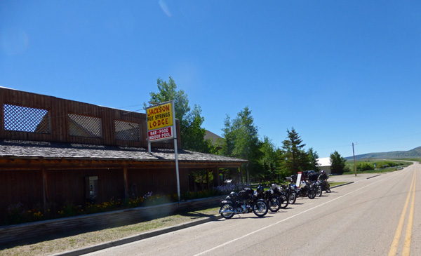 Velocettes in front of Jackson Hot Springs Lodge