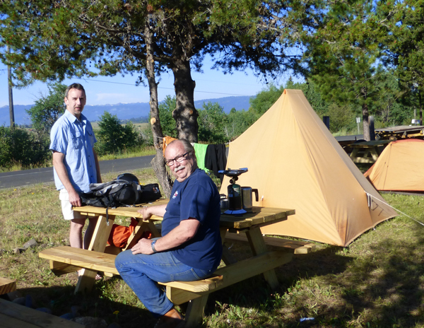 Life in camp was good.  While Fred brought the killer coffee maker, John showed off a vintage tent that multitasked as a laundry line