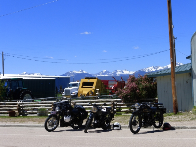 More bikes parked across the street from the lodge.  Notice the snow on the hills.